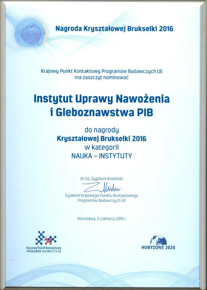 Nominacja do nagrody Kryształowej Brukselki