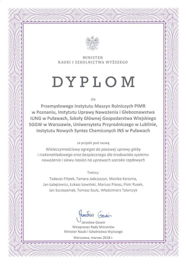 Dyplom dla projektu AZOMAIS